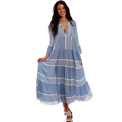 YC Fashion & Style Damen Boho Maxikleid Strandkleid Freizeit Sommer Party Kleid Hippie Kleid Plus Size Made in Italy (One Size, Hellblau/Model2)