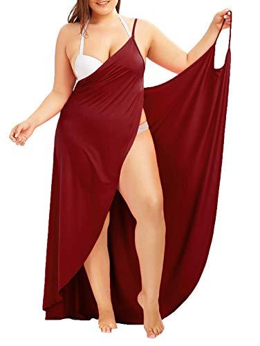 WEIMOB Pareo Cache Maillot de Bain Femme Sexy Cover Up Bikini Sarong Robe de Plage Bretelle Amincissante Col en V Portable Sechage Grande Taille Rouge vin ,50(5XL)