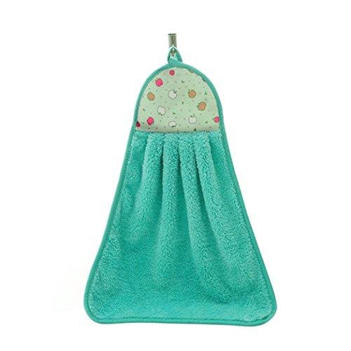 Bismarckbeer de cuisine de salle de bain Serviette de toilette d'absorption en peluche à suspendre à essuyer Serviette de bain, Tissu en peluche, Green, Taille unique