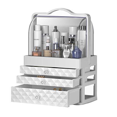 HYJBGGH cosmetica-organizer cosmetica organizer make-up opslag, stofdichte acryl desktop make-up koffer, rek, koffer (wit)