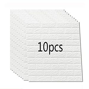 K&F-qianzhi 10PCS 70X77cm Papel Pintado De Ladrillo Blanco, Panel De Pared 3D Ladrillo PE Espuma DIY Pegatinas De Pared Papel Pintado Autoadhesivo