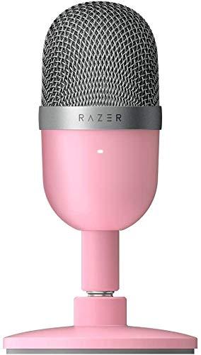 Oferta de Razer Seiren Mini Micrófono compacto para USB para streaming, compacto con patrón polar supercardioide, soporte inclinable, amortiguador integrado, Quartz / Rosa