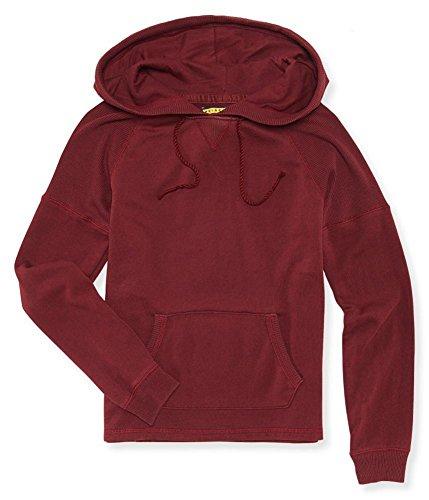 Aeropostale Womens Ribbed Raglan Hoodie Sweatshirt, red, X-Small