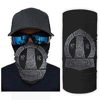 Mjlnir Triquetra Dragon Knot Tattoo Print Bandana Face Mask Sun Protection Scarf Face Mask White OneSize