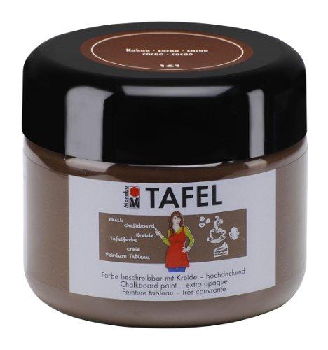 Marabu 02590025161 - Tafelfarbe kakao 225 ml, deckende Acrylfarbe auf Wasserbasis, nach Trocknung mit Tafelkreide beschreibbar und Wasser abwischbar, geeignet für Wand, Metall und Keilrahmen