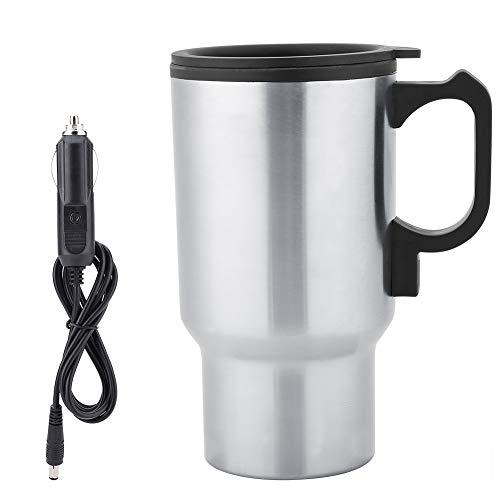Coffee Mug 12V Car Heating Cup Up, 450ml Stainless Steel Travel Electric Coffee Cup Insulated Heated Mug Heated Travel Mug Cup For Also Tea, Milk