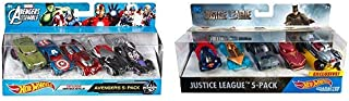 Hot Wheels Marvel Avengers Assemble Avengers 5-Pack [Amazon Exclusive] AND Hot Wheels DC Universe Justice League 5-Pack, Vehicle [Amazon Exclusive]