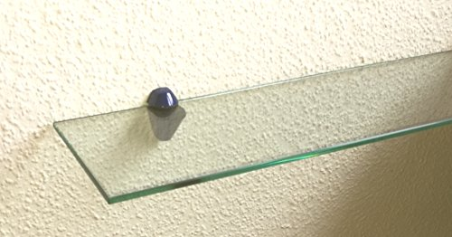 Set: Glasregal 50x25 cm / 8 mm Klarglas mit Clip M blau / Glasablage