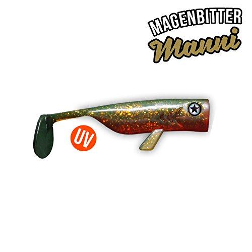 Zander /& Dorsch //// Gummifisch in UV-aktiven Farben und nat/ürlichen Dekoren Farbe Malibu Max #LMAB Drunk Bait 8cm //// Der High-Action-Shad f/ür das Angeln auf Hecht