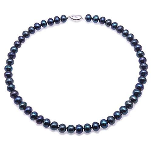 JYX Collar de perlas cultivadas de agua dulce de 8-9 mm, collar de perlas negras azuladas para mujeres de 46 cm