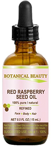 RED RASPBERRY SEED OIL. 100% Pure / Natural / Undiluted / Refined Cold Pressed Carrier Oil. 0.5 Fl.oz.-15 ml. For Skin, Hair, Lip and Nail Care. 'One of the highest anti-oxidant, rich in vitamin A and E, Omega 3, 6 and 9 Essential Fatty Acids'.