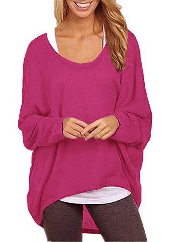 ZANZEA Damen Lose Asymmetrisch Jumper Sweatshirt Pullover Bluse Oberteile Oversize Tops Rose EU 38-40/Etikettgröße M