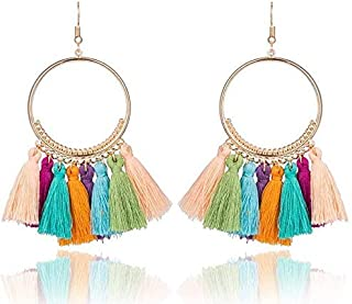 BESTPICKS Gold Plated Colourful Bohemian Tassel Earrings Cotton Wedding Earrings Gift for Women Girl Ladies