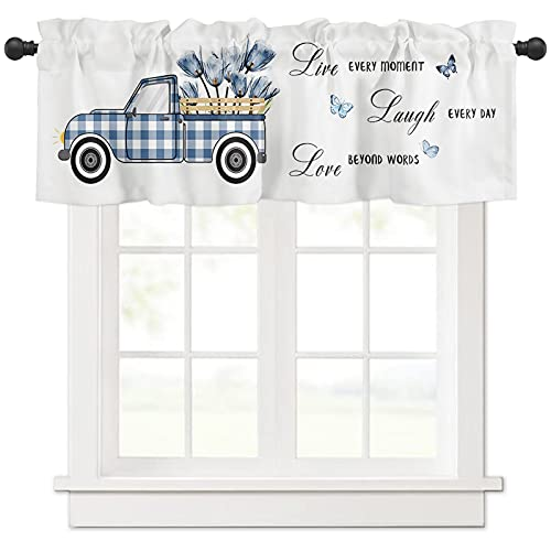 Window Valance Rod Pocket Short Curtain Panels Lattice Truck with Blue Tulips Butterfly Kitchen Valances Curtains, Positive Energy Quote on White Window Treatments Drapes for Living Room Bedroom
