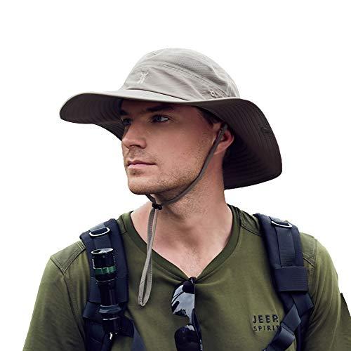 Cooltto Sombrero para el Sol Anti-UV UPF 50+ Sombrero de Pesca para Pesca al Aire Libre Gorra de 10cm de ala Ancha Transpirable Secado rápido para Acampar Senderismo Ciclismo-Caqui Oscuro