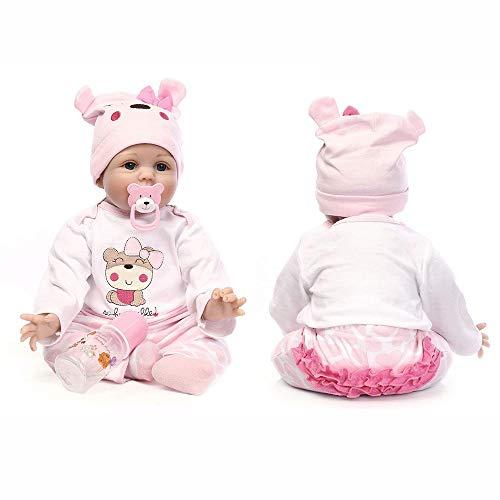 AFYH Muñeca de simulación, Bebé renacido-55 cm Bebé ponderado Altamente Realista - Niños Playmates - Colección de Arte - Muñeca Reborn de 22 Pulgadas.