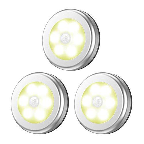 Baoblaze 3 piezas 6 LED Sensor de movimiento luces inalámbrico luz nocturna para escalera baño pasillo - Plata luz cálida