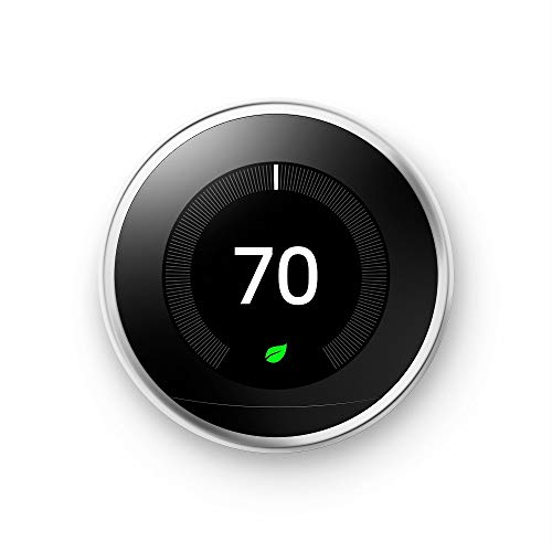 Google Nest Learning Thermostat - Programmable Smart Thermostat for Home - 3rd Generation Nest Thermostat - Works with Alexa - Polished Steel