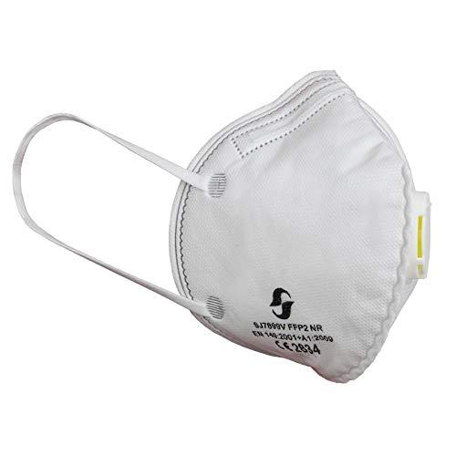 ALPIDEX 10 x Mundschutz FFP2 Ventil Filterleistung 94% Maske Verstellbarem Nasenclip Ohrenbänder Faltbar