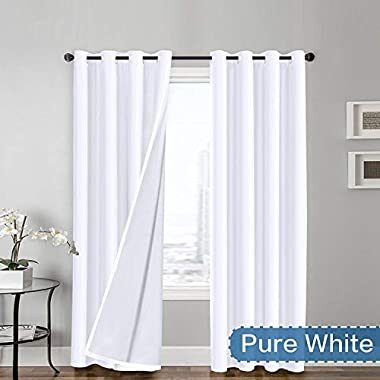 Flamingo P Light Reducing Pure White Curtains Faux Silk Satin with White Liner Thermal Insulated Window Treatment Panels, Grommet Top (52 x 108 Inch, Set of 2)