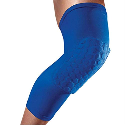 PMWLKJ Sports Kneepad Men Protector Sports Basketball Sleeve Basket Rodillera Brace transpirable Honeycomb Support Long Knee Pad M azul