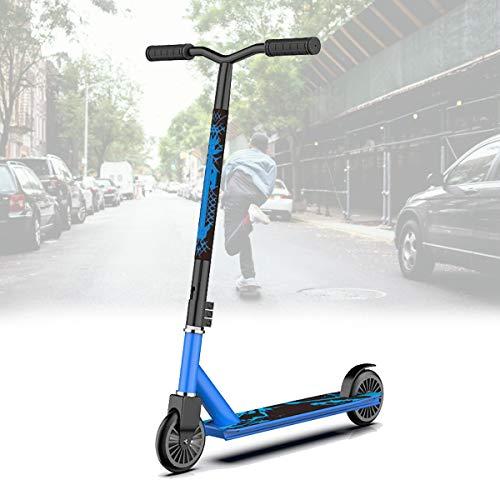 Dos Ruedas Scooters Competitivos para NiñOs Adolescentes,Scooters de Pedales Extremos,Scooters Escolares con Cool Stunts/OperacióN FáCil,Blue Nylon Wheel