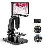 Microscopio digital con pantalla LCD de 7 pulgadas, doble lente 500-2000X, cámara de 12 MP con videocámara 32 G TF luz de 11 LED portátil recargable para ciencia y biológica, escuela y búsqueda