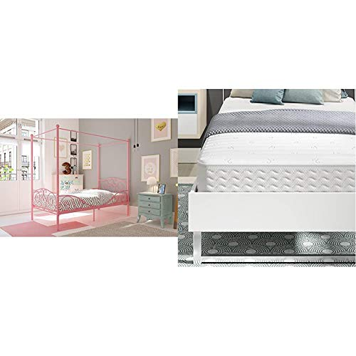 DHP Canopy Bed with Sturdy Bed Frame, Metal, Twin Size - Pink with Signature Sleep Contour Encased Mattress, Twin, White