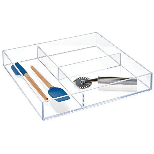 iDesign Clarity Kitchen Drawer Organizer for Silverware, Spatulas, Gadgets - 12' x 12' x 2', Clear