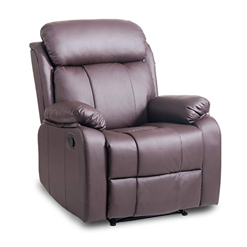 NaiCasy Modern Recliner Upholstered Armchair PU Leather Comfy Sofa Reclining Chair Recliner Chair Tilt Sofa Push Back Armchair Sofa Lounge Chair Padded Soft Seat Adjustable Footpad Pocket Spring