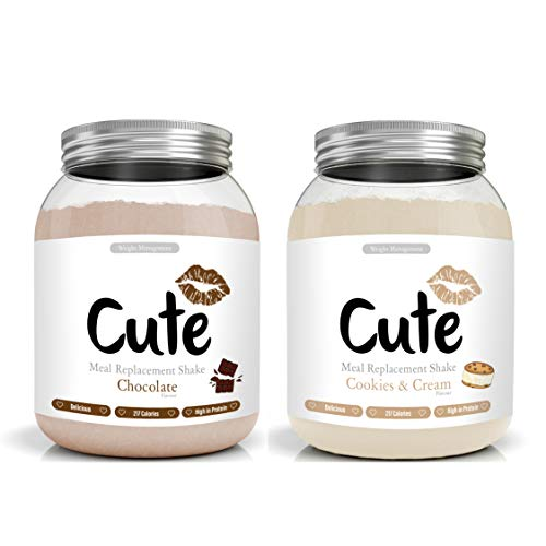 Cute Nutrition Chocolate and Cookies and Cream 2 Meal Replacement Shakes for Weight Loss Control Powder Form Diet Drink for Women 2 x 500g tubs