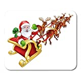 Mouse Pads White Raindeer Cartoon Santa Claus and His Flying Sleigh Mouse Pad for notebooks, Desktop Computers mats Office Supplies