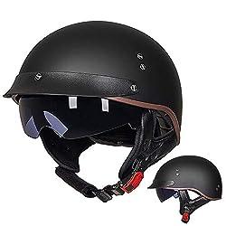 GAOZH Retro Motorradhelm Halbschalenhelm Mopedhelm ECE Zertifizierung Jethelm Für Damen Und Herren Mit Visier Erwachsene Oldtimer Vintage Style Harley-Helm