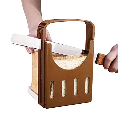 Ncheli Cortadora de Pan Tostado,Herramientas de Corte de Pan Molde Cocina Pan Plegable para rebanar de Resina Sandwich con 4 grosores Diferentes