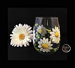 Hand Painted White Daisy Flower Stemless Wine Glass, Gift for her, Daisy Flower Wine Glass 11oz