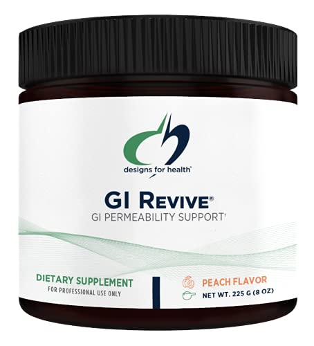 Designs for Health GI Revive Powder - Gut Health + Intestinal Lining Support Supplement w/ Slippery Elm, Cat's Claw, L-Glutamine, Marshmallow - Non-GMO Drink Add-In, Peach Flavor (28 Servings / 225g)