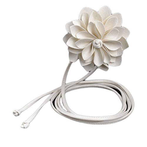 PmseK Gürtel Damen Herren Fashion Lady Leater Waistband Stretch Elastic Wide Belt Three-Dimensional Waist Belt Clothing Accessories Flower White