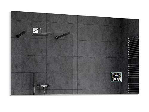 Alasta® Premium Moderne en Verlichte Badkamerspiegel - 100x70 cm - Model Dubái - Spiegel met Aanraaklichtschakelaar en Weerstation P2