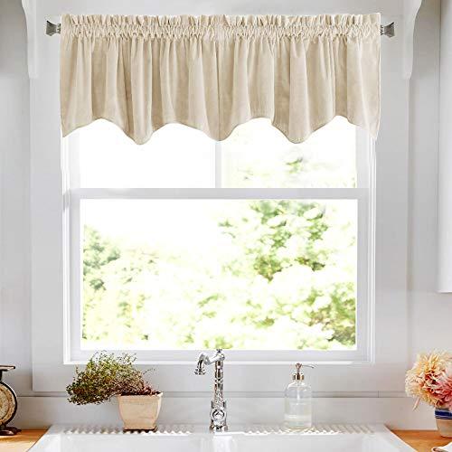 18 inch Velvet Valance Beige Scalloped Design Window Curtain
