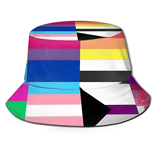 Unisex Fashion Polyester Bucket Hat Sun Protective Fishermen Cap Packable Breathable Summer Travel Beach Sun Hat - Lesbian Gay LGBT Pride Flags