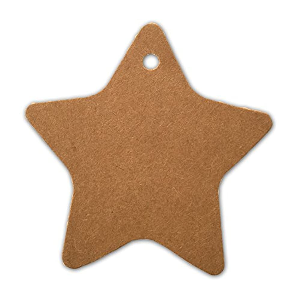 LWR Crafts 100 Hang Tags Star with Jute Twines 100ft (2 3/8