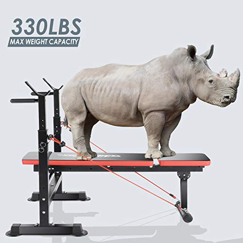 OppsDecor Weight Bench Adjustable Workout Bench Fitness Barbell Rack Strength Training for Home Gym
