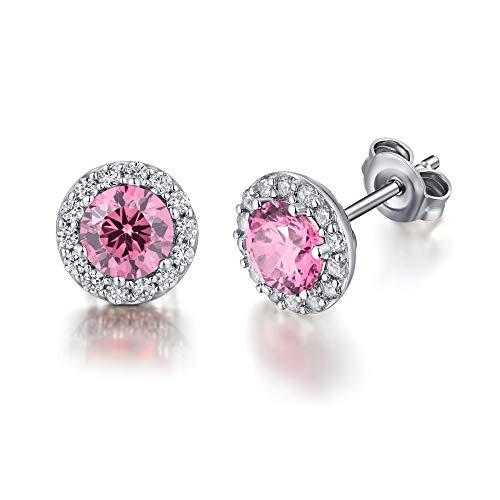 jiamiaoi Pendientes de oro blanco con diamantes para mujer, de plata de ley y circonita cúbica rosa, aretes de diamante, hipoalergénicos