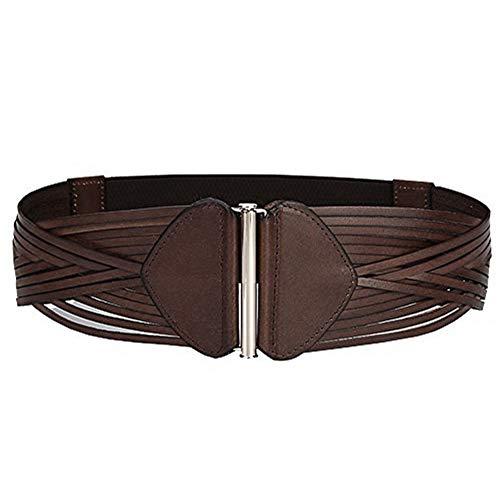 Cheerlife Damen Breit Taillengürtel Echt Leder Geflochtene Gürtel Vintage Hüftgürtel (Braun)