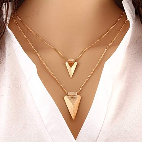 Davitu Sharp Arrow Multi Layer Necklace Gold Color Long Chain Multilayer Pendant Necklaces for Women, Collar Neckless Woman Halskette - (Metal Color: Arrow)