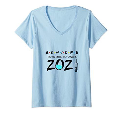 Womens Funny Senior Class of 2021 Shirt Graduation Quarantine Gift V-Neck T-Shirt