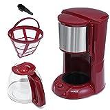 Máquina de café Máquina de café 2L 220V Cafetera de goteo de espresso con hervidor de vidrio Filtro de polvo en polvo anti-goteo Tetera de aislamiento Electrodomésticos (Color : Red)