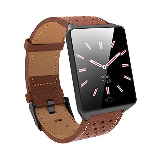 Fitnesstracker met echt leer, smartwatch band en slaapmonitor, stappenteller, waterdichte activiteitstracker voor kinderen, mannen en vrouwen
