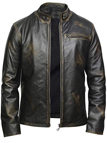 BRANDSLOCK Mens Leather Biker Jacket Black Real Leather Coat Designer