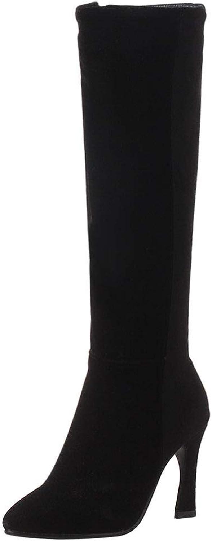FizaiZifai Women High Heel Long Boots Zipper